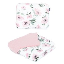 Pledukas ir pagalvėlė MAMO-TATO 75x100 PREMIUM Velvet PIK Gėlės smėlinė / rožinė