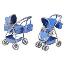 Žaislinis lėlių vežimėlis 2in1 mėlynas