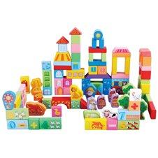 Medinės kaladėlės Eko Žaislas 100 vnt Ferma