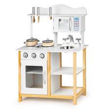 Medinė virtuvėlė Eko Žaislas Balta su priedais