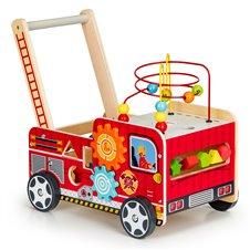 Medinis edukacinis stumdukas Eko žaislas Gaisrinės mašina
