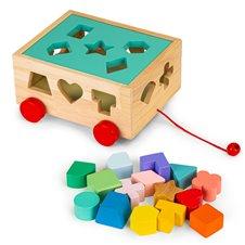 Medinis traukiamas vežimėlis Eko žaislas su kaladėlėmis