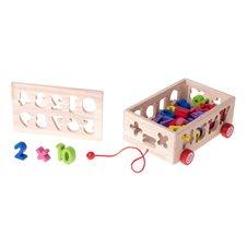 Sorter drewniany mobilny na sznurku cyfry i litery montessori