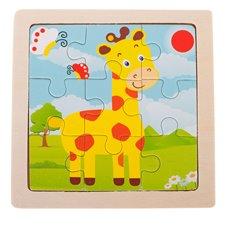 Medinė dėlionė Žirafa 9 el. 11x11cm