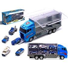 Ciężarówka TIR transporter + metalowe auta policja