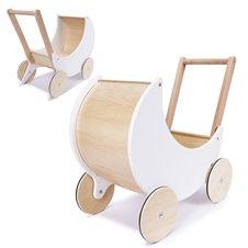 Lėlių vežimėlis KIK medinis stumdukas, baltas