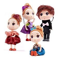 Lalki 3 dziewczynki + 1 chłopczyk zest. 4szt 12cm