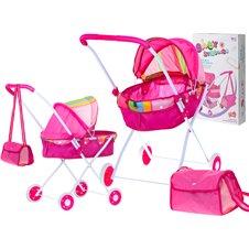 Lėlių vežimėlis KIK su krepšiu