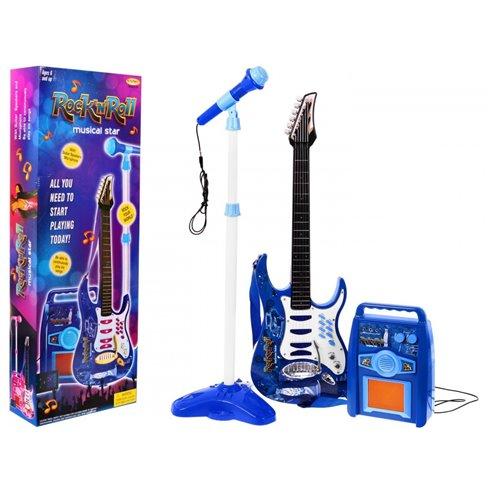 Elektirinė gitara su mikrofonu Mėlyna