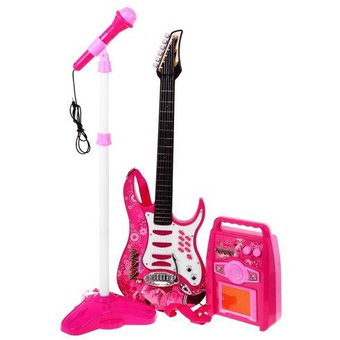 Elektirinė gitara su mikrofonu Rožinė