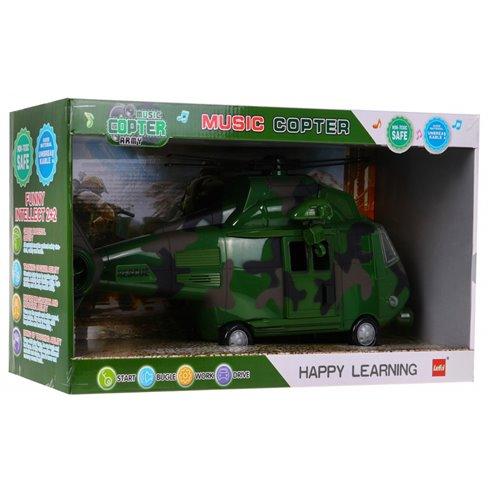 Karinis žalias sraigtasparnis su garsais