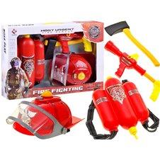Zestaw strażaka kask światło dźwięk gaśnica PTP01678