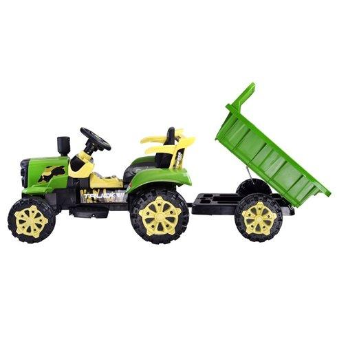 Vaikiškas elektrinis traktorius su priekaba šviečia PTP00234 raudonas
