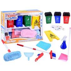 Zestaw do nauki sprzątania mop miotła kosze PTP03588