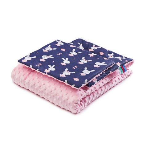 Pledas su pagalvėle Sillo Minky Zuikučiai Rožinė