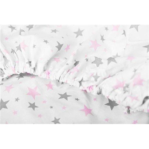 Paklodė su guma Sillo 120x60 Rožinės žvaigždės