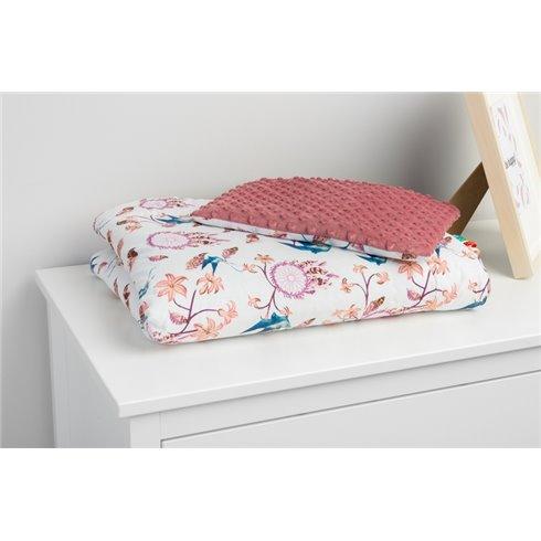 Pledas su pagalvėle Sillo Minky Retro Rožinė