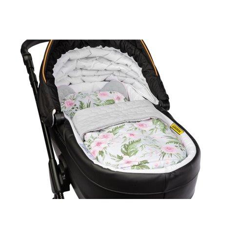 Pagalvė su pleduku vežimėliui Sillo Velvet Pilkos gėlės