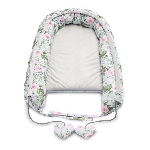 Kūdikio lizdas Sillo Velvet 80x45cm Pilkos gėlės