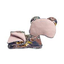 Pagalvė su pleduku vežimėliui Sillo Wafel Boho rožinė