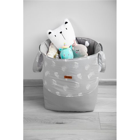 Žaislų krepšys Sillo Medium Pilkas Plunksnos