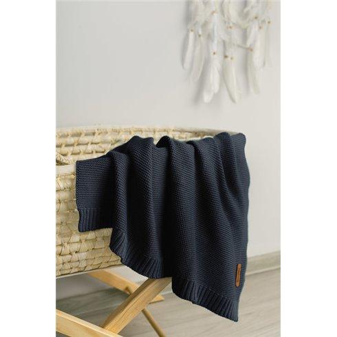 Bambukinis-medvilninis pledas Sillo Tamsiai mėlynas 100x80cm