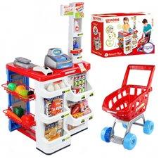 Žaislinė parduotuvė su vežimėliu ir priedais 24vnt WOOPIE