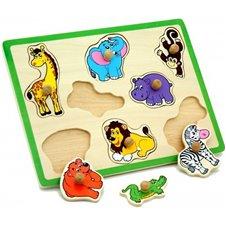 VIGA Drewniane Puzzle Zwierzęta ZOO Układanka Viga Toys