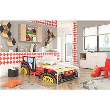 Lova - mašina Raudonas traktorius 160x80