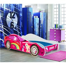Lova - mašina Rožinė 160x80