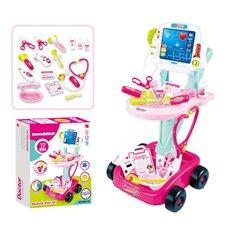 WOOPIE Wózek Małego Lekarza Różowy Zestaw Lekarski Dla Dzieci 17 akc