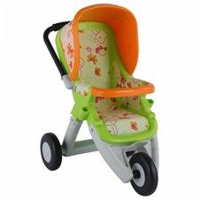 Didelis vežimėlis lėlėms Wader QT žalios ir oranžinės spalvos