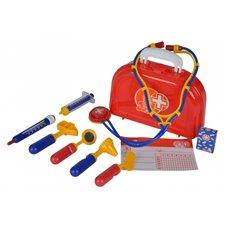 Gydytojo lagaminas su 10 priedų Simba Doctor raudonas