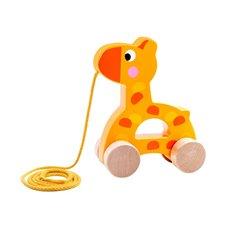 Važiuojanti medinė žirafa su virvele TOOKY
