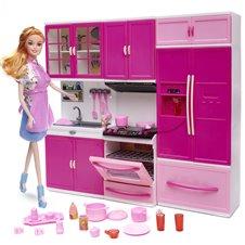 Virtuvė su aksesuarais ir lėlė KX Rožinė