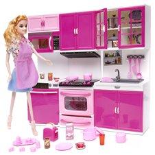 Virtuvė su lėlė ir priedais KX Rožinė 29 cm