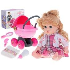 Lėlė su languota suknele vežimėliu ir priedais KX