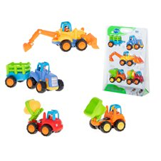 KX Pojazdy traktor autko koparka wywrotka zestaw 4szt
