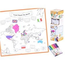Spalvinimo kilimėlis JOK su rašikliais Travel Around The World PTP02823