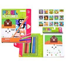 Edukacinė spalvinimo knygelė JOK Pixel Animals PTP03372
