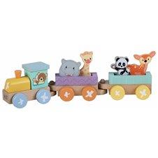 Medinis geležinkelio lokomotyvas Saulės Vaikas su 2 prekiniais vagonais