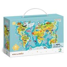 Dėlionė Dodo Žemėlapis su gyvūnais (80 det.)