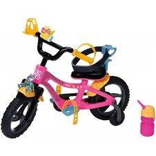 Lėlių dviratis BABY BORN su šviesa ir ragu 43 cm Rožinis