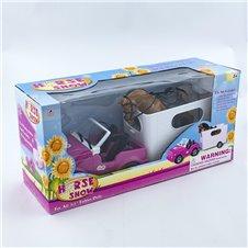 Lėlių automobilis MEGACREATIVE su priekaba arkliui Horse Show 442766