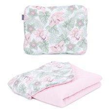 Pledukas su pagalvėle MAMO-TATO Muslino PIK Pašiltintas Gėlės lapuose/rožinė