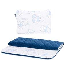 Pledukas ir pagalvėlė MAMO-TATO Velvet PIK 55x75 Pašiltintas Meškiukai žydra/mėlyna
