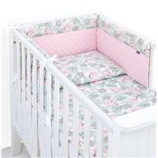 Apsauga lovytei MAMO-TATO PREMIUM Muslino PIK Gėlės lapuose/rožinė