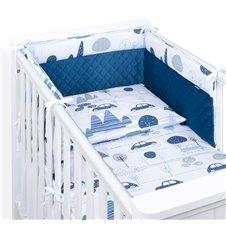 Apsauga lovytei MAMO-TATO Velvet PIK 70x140 lovytei Mašinėlės/mėlyna