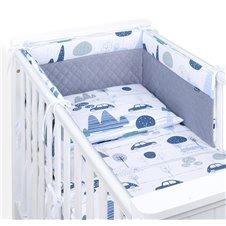 Apsauga lovytei MAMO-TATO Velvet PIK 70x140 lovytei Mašinėlės/pilka