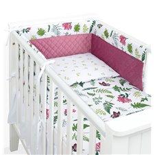 Apsauga lovytei MAMO-TATO Velvet PIK 70x140 lovytei Paparčiai/tamsiai rožinė